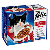 Felix Adult Pouch Meat Select in Jelly Cat Food 100gm 12 Pack