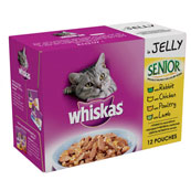 Whiskas Senior Pouch Mixed Variety in Jelly 100gm 12 Pack