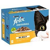 Felix Adult Pouch Poultry Selection in Jelly Cat Food 100gm 12 Pack