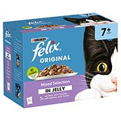 Felix Senior Pouch Mixed Selection in Jelly Cat Food 100gm 12 Pack