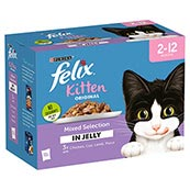 Felix Kitten Pouch Mixed Variety in Jelly 100gm 12 Pack