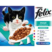 Felix Adult Pouch Supermeat Meat Select Cat Food 100gm 12 Pack