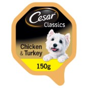 Cesar Adult Dog Food Foil Tray with Tender Chicken and Turkey 150g