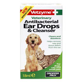 Antibacterial Ear Drops and Cleanser 18ml for Cats and Dogs by Vetzyme