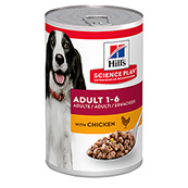 Hills Science Plan Adult Dog Food Tins with Savoury Chicken 370gm