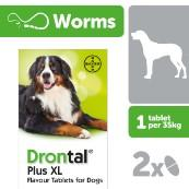 Drontal Plus XL Worming Tablets 2 Pack for Large Breed Dogs