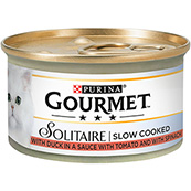 Gourmet Solitaire Cat Food with Duck and Vegetables 85g Tin