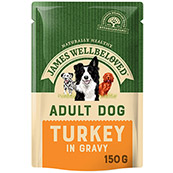 James Wellbeloved Adult Dog Food Pouches with Turkey & Rice 150gm