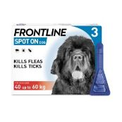 Frontline Spot On Flea Drops for Extra Large Breed Dogs and Puppies (40-60kg) 3 x 4.02ml