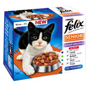 Felix Senior Pouch New Mixed Selection in Jelly Cat Food 100gm 12 Pack