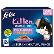 Felix As Good As It Looks Kitten Pouch Mixed Variety in Jelly 100gm 12 Pack