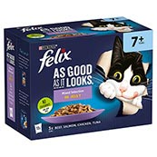 Felix As Good As It Looks Senior Pouch Mixed Variety in Jelly Cat Food 100gm 12 Pack