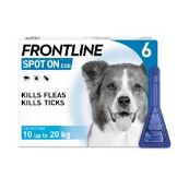Frontline Spot On Flea Drops for Medium Dogs and Puppies (10-20kg) 6 x 1.34ml