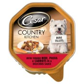 Cesar Adult Foil Tray Dog Food in Gravy with Tender Beef, Pasta and Carrots 150g