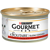 Gourmet Solitaire Cat Food with Beef 85g Tin