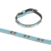 Silver Bone Motif Puppy Collar and Lead set