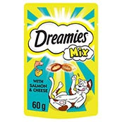 Dreamies with Delicious Cheese and Scrumptious Salmon Cat Treats 60g