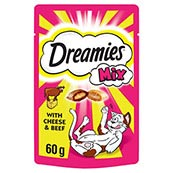 Dreamies with Delicious Cheese and Tempting Beef Cat Treats 60g