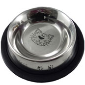 Stainless steel cat bowl with etching