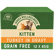 James Wellbeloved Cat Turkey Kitten Pouch 12 x 85gm