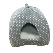 Grey/Cream Spot Igloo Cat Bed