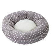Grey with Cream Spots Donut Cat Bed