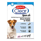 Bob Martin Flea Clear Spot On Solution 3 x 67mg for Small Dogs 2 - 10kg