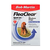 Bob Martin Flea Clear Spot On Solution 1 x 134mg for Medium Dogs 10 - 20kg