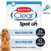 Bob Martin Flea Clear Spot On Solution 3 x 134mg for Medium Dogs 10 - 20kg