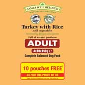 James Wellbeloved Dog Turkey with Rice Adult Pouch 150g 40 for 30 pack
