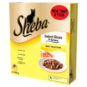 Sheba Tray Select Slices in Gravy Meat Selection 8x85g Pack