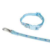 Blue Button Puppy Collar and Lead Set