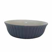Blue Ribbed Flared Bowl