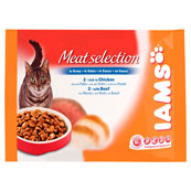 Iams Cat Wet Adult Meat Selection in Gravy 4 x 100g (Online Only)