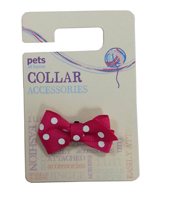 Spotty Bow Collar Accessory Hot Pink