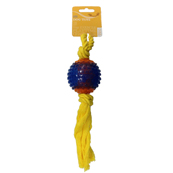 Squeaky Ball On Rope Dog Toy