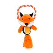 Plush Fox With Rope and Ball Dog Toy