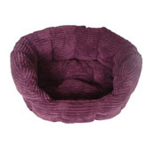 Plum Jumbo Cord Oval Cat Bed Small