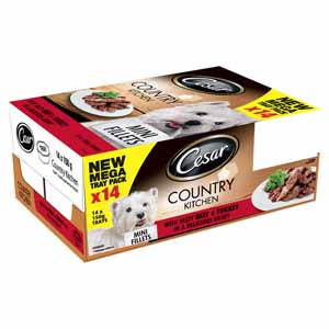 Cesar Tray Country Kitchen Mini Fillets with Tasty Beef and Turkey in a Delicious Gravy 14 x 150g