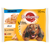 Pedigree Pouch Senior Jelly Chicken and Beef 4 x 100g pack (Online Only)
