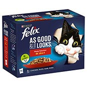 Felix As Good as it Looks Pouch Meat Selection Variety Pack 12 x 100g Cat Food