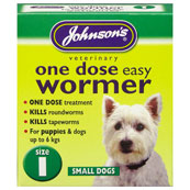 Johnson's One Dose Easy Worming Tablets Size 1 for Puppies and Dogs up to 6kg