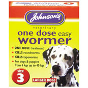 Johnson's One Dose Easy Worming Tablets Size 3 for Dogs up to 40kg