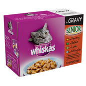 Whiskas Senior Pouch Mixed Variety in Gravy 100gm 12 Pack
