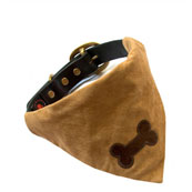 Tan Slip on Dog Bandana with Bone Motif (Online Only)