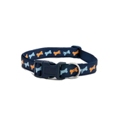Navy Bones Nylon Dog Collar