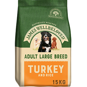 Image for James Wellbeloved Large Breed Adult Complete Dog Food with Turkey & Rice 15kg from Pets At Home