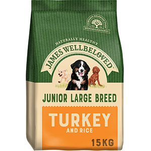 Image for James Wellbeloved Large Breed Complete Junior Dog Food with Turkey & Rice 15kg from Pets At Home