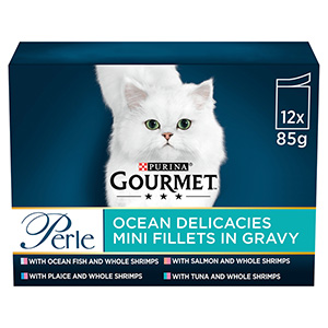 Image for Gourmet Perle Adult Cat Food Ocean Delicacies 85gm 12 Pack from Pets At Home
