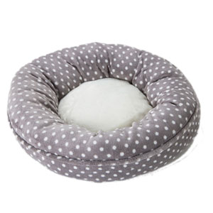Image for Grey with Cream Spots Donut Cat Bed from Pets At Home